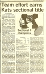 Article after Kat's are crowned football Sectional 4 Champs (Kokomo Tribune - 11/9/85).