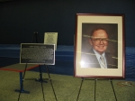 The memorial plaque and portrait donated by the KHS Class of '86 of the late Harry McCool, Haworth High School principa
