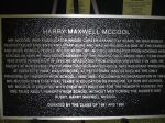 Close-up of the Harry McCool memorial plaque donated by the KHS Class of '86