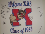 KHS Class of 1986 welcome board. Each classmate attending the reunion dinner signed the welcome board for a 20th reunion