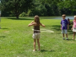 Kamry Snyder (Kevin Snyder's daughter) shows off her athletic ability during the hula-hoop contest.